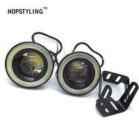 HOPSTYLING 2pcs Lot 3inch 76mm Led COB Fog Light Car Auto Fog Angel Eyes With Lens