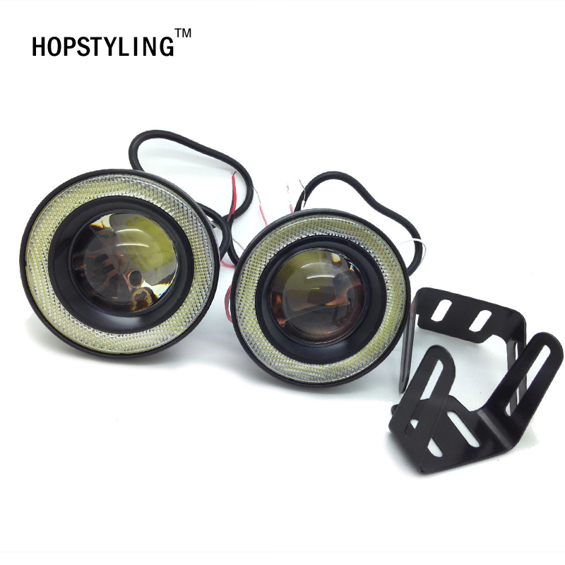HOPSTYLING 2pcs/lot 3inch 76mm Led COB Fog Light Car Auto Fog Angel Eyes With Lens DC12V-24V Any Car Can Use CA Daytime Lights 2x 64 76 89mm 20w led cob fog lamp car vehicle auto blue white red angel eyes light with lens dc12v led daytime running lights
