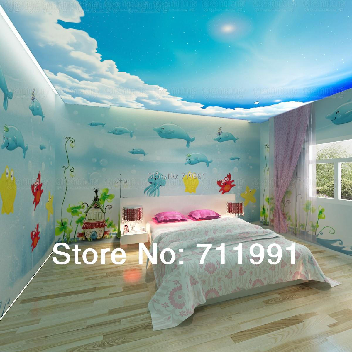 Free Shipping Dolphins Underwater World Wallpaper Cartoon Children S Room Bedroom Background In Wallpapers From Home Improvement On