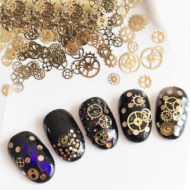Новый 1 jar ультра-тонкий в стиле панк заклепки 3D Дизайн ногтей Аксессуары время колеса DIY ногтей поставок золота Паровая машина Шестерни приложение 150 шт.
