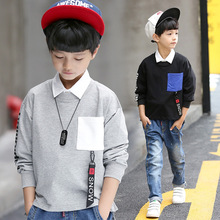 Kids boys spring / autumn lengthy sleeves T-shirt 2017 new child boy clothes style pocket informal T-shirt three/four/5/6/7/eight/9/10/11/12