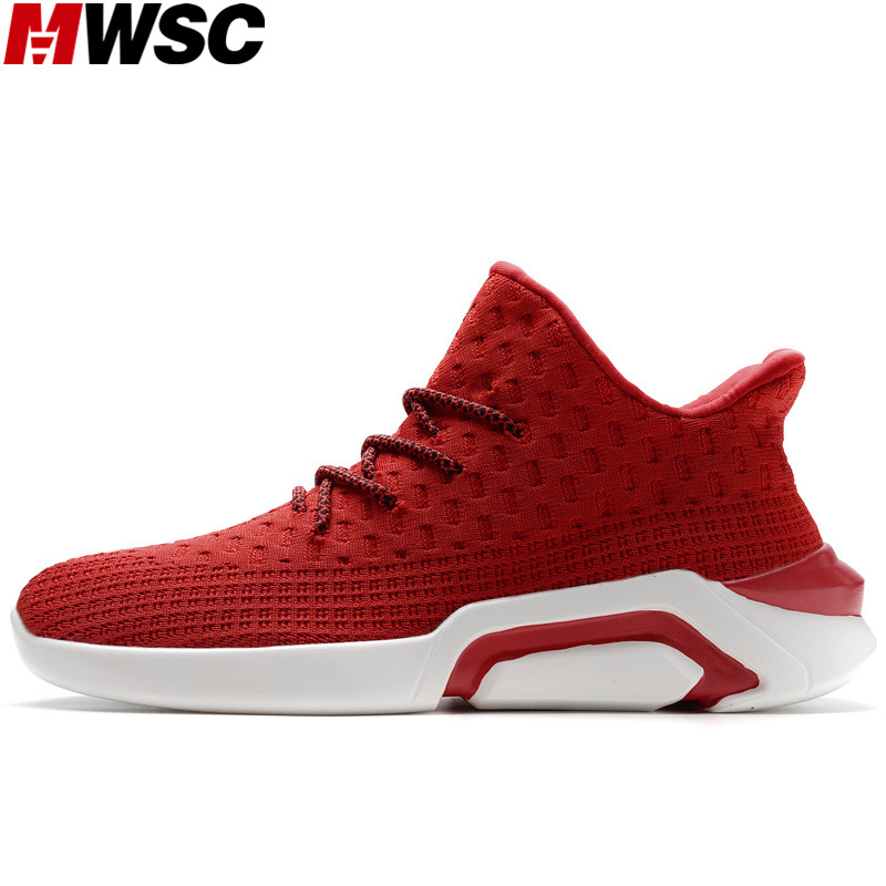 MWSC Fly Knit Male Casual Lace Up Trending Shoes Spring New Breathable Mens Lace Up Sneaker Shoes ...