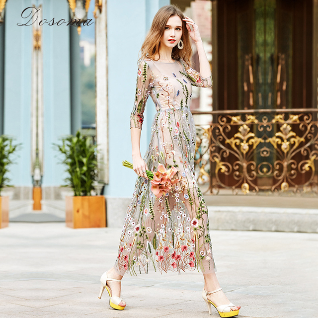 DOSOMA Party Embroidery Dresses Ruway Floral Bohemian Flower Embroidered Vintage Boho Mesh Embroidery Dresses For Women Vestido