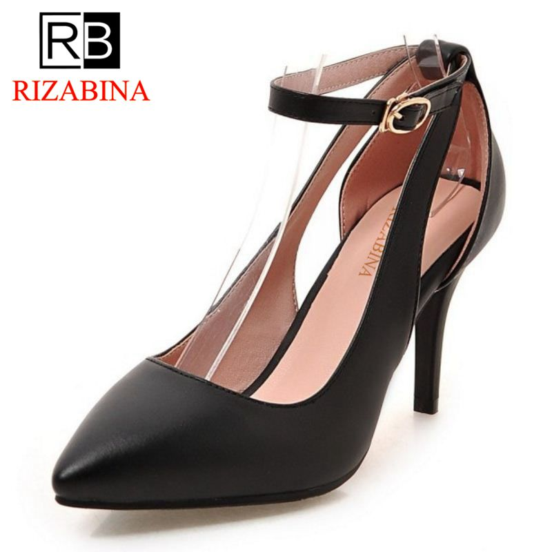 RizaBina Brand Women Shoes Sexy Pointed Toe Thin High Heel Pumps Ladies Ankle Strap Wedding Party Shoes Stiletto Size 32-43 esveva sexy flock thin high heel women pumps summer party pointed toe woman pumps ankle strap ladies wedding shoe size 34 43