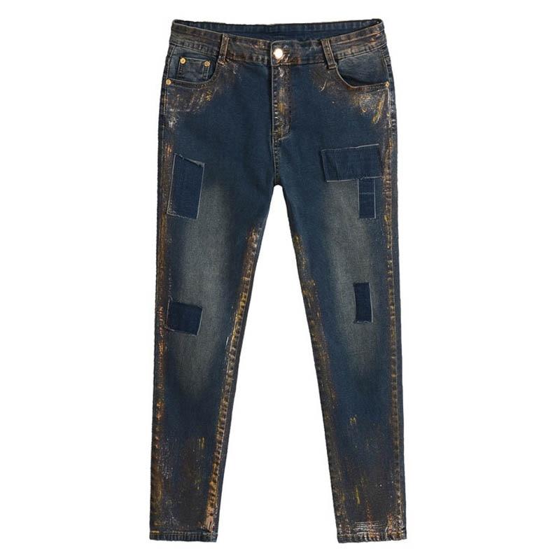 ФОТО High Waist Denim Jeans Women Casual Street Style Painted Slim Pencil Elastic Jeans Plus Size 5XL Trousers MYNZ45