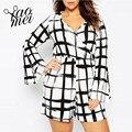 Yaomei 2017 Women Plus Size Black-White Plaid  Sexy Deep V Neck Big Large Size Flare Sleeve Romper Slim Short Jumpsuit