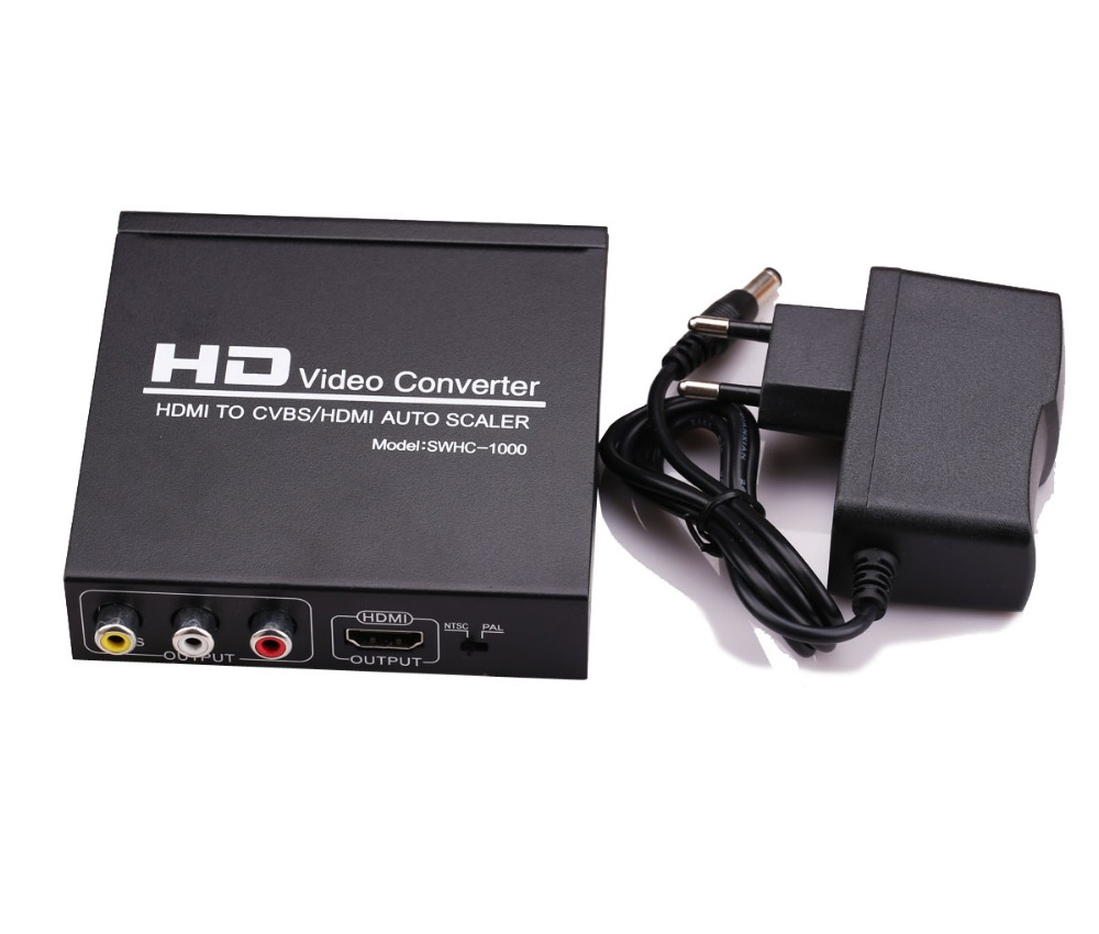 High Quality HDMI TO CVBS AV/HDMI AUTO SCALER Support NTSC PAL Two TV Format, HD Video Converter for TV,VHS, VCR,DVD Recorders