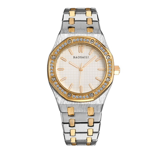 BSL1039 BAOSAILI Octagon Shape Face Interval Silver Gold Women Luxury Watches Waterproof life