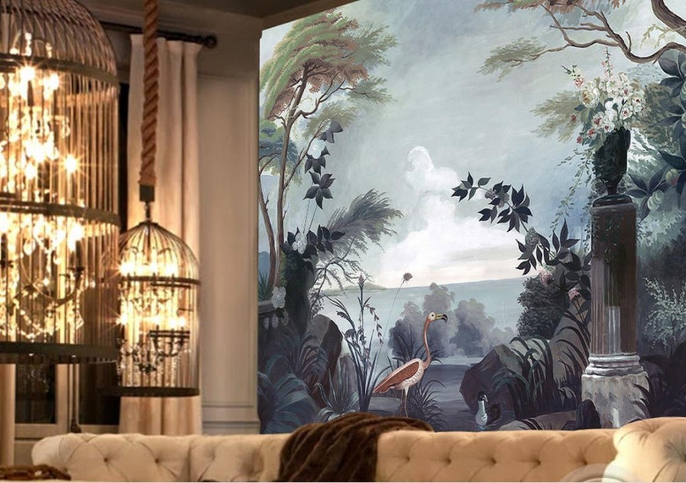 3D photo wall mural Custom wallpaper Hand painted retro flowers Scenery TV background wall 3d room wallpaper landscape