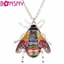 Bonsny Statement Zinc Alloy Insect Bee Necklace Chain Pendant Collar Fashion New Enamel Jewelry For Women Girl Gifts wholesale(China)