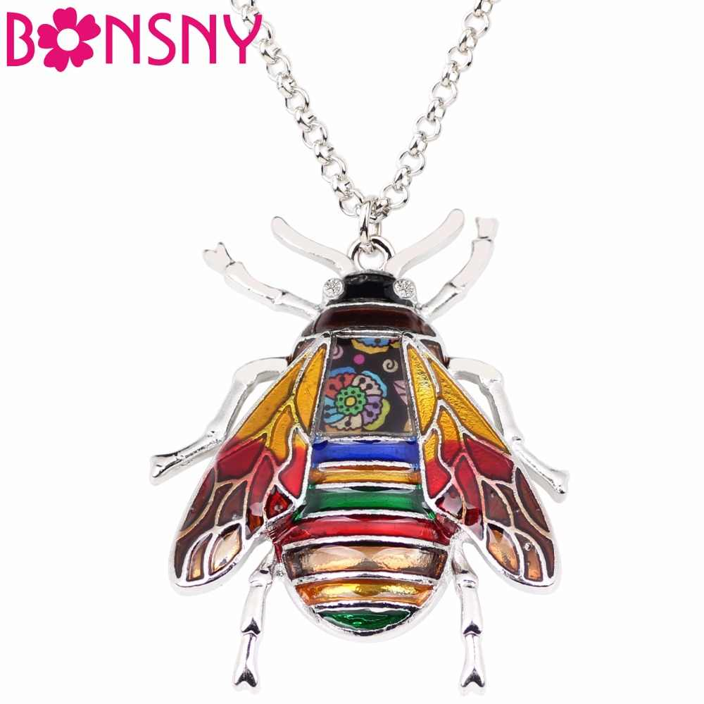 Bonsny oświadczenie ze stopu cynku owadów pszczoła naszyjnik łańcuch wisiorek kołnierz moda nowa emalia biżuteria dla kobiet dziewczyna prezenty hurtownie