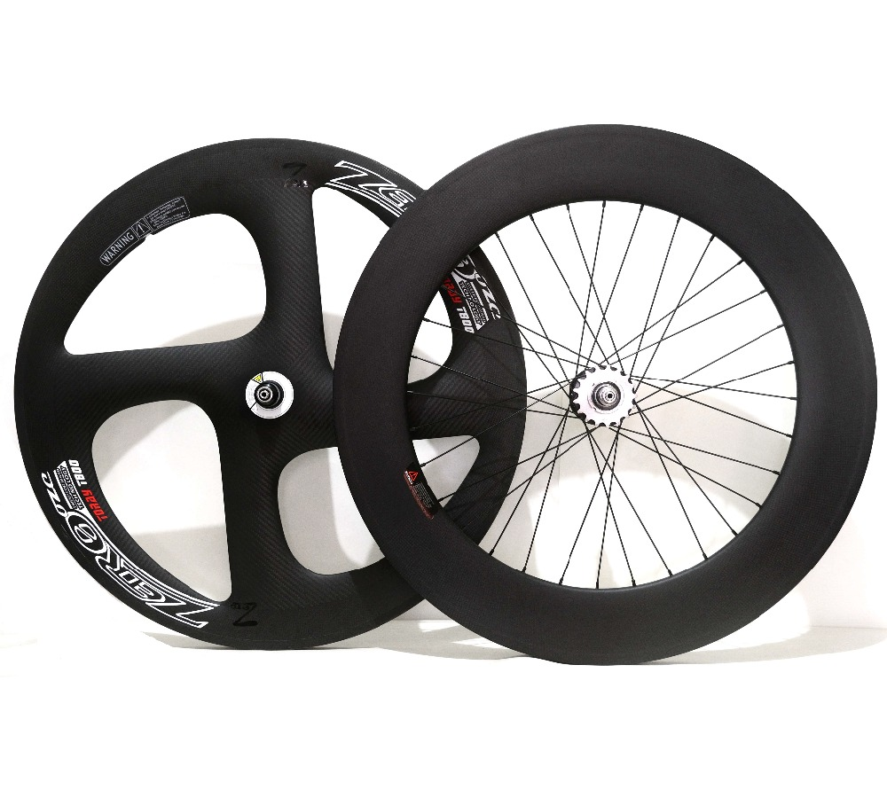 700C Full carbon front 70mm depth four-spoke track carbon wheels rear 88mm fixed gear carbon wheelset for Time/Trial bicycle цена