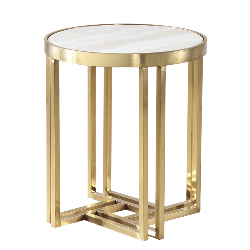 Stainless steel round marble edge side modern minimalist small coffee table sofa side table cabinet round table stainless steel coffee table frame