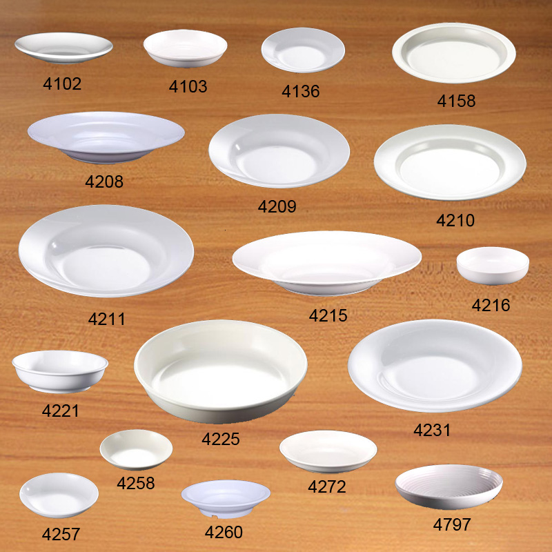 Imitation Porcelain Melamine Dinenrware Dinner Plate Round Sou Dish Fashionable Restaurant Melamine Plate A5 Melamine Tableware