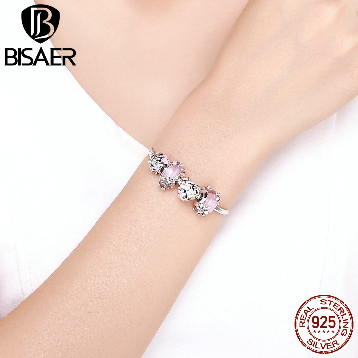 BISAER браслеты в форме сердца, 925 пробы, серебряный, розовый, Маргаритка, персик, цветок, сердце, женские браслеты для женщин, серебро 925, ювелирн... - 3