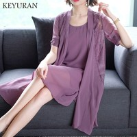 Summer clothes for women silk dress plus size large two piece set dresses cardigan Chiffon embroidery vintage elegant noble robe