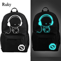 2016 nightlight fashion casual Men's backpack Anime Luminous teenagers Men women's Student Cartoon School Bags travel Backpacks