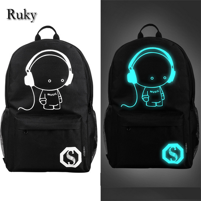 2016 nightlight fashion casual Men's backpack Anime Luminous teenagers Men women's Student Cartoon School Bags travel Backpacks