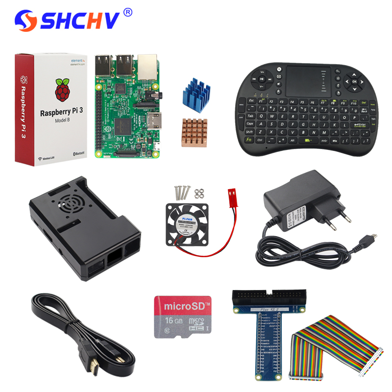 Raspberry Pi 3 Model B +Power Adapter +16G SD Card +Keybaord + Case+ Heat Sink+ HDMI Cable+ GPIO Cable + GPIO Boaed+ Fan 10 in 1 raspberry pi 3 abs case 8gb sd card gpio adapter 2pcs heat sink hdmi cable 2 5a power adapter with switch cable for pi 3