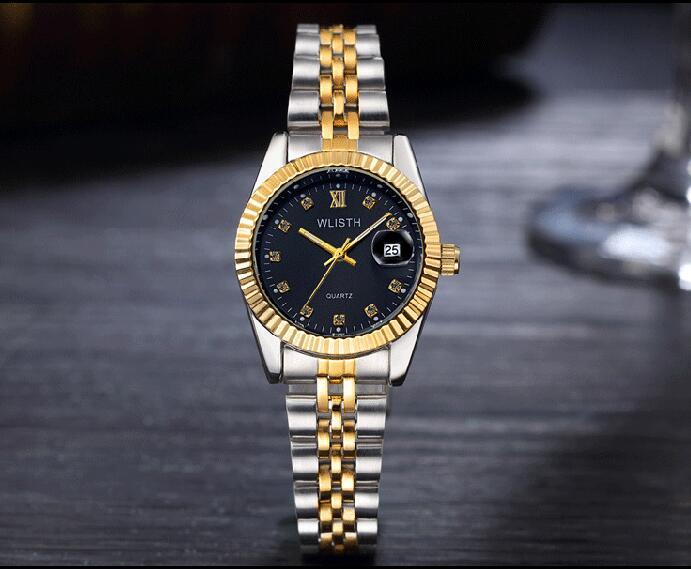 WLISTH роскошные золотые часы для женщин и мужчин, для влюбленных, нержавеющая сталь, Кварцевые водонепроницаемые мужские наручные часы для мужчин, аналог Авто Дата clcok - Цвет: Gold Black For Lady