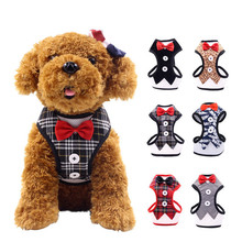 Fashion Nylon Dog Harnesses Comfortable Breathable Bow Tie Pet Puppy Accessories with Traction Rope 6 Colors