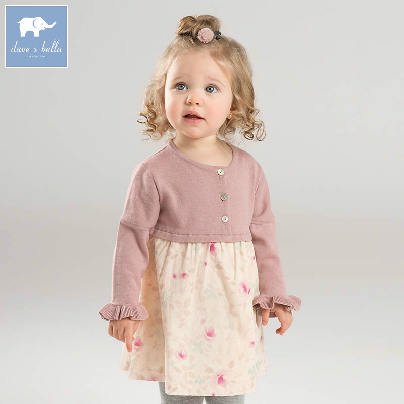 DB7362 dave bella spring infant baby girl's Knitted Dress fashion floral birthday party dress toddler children clothes db4079 dave bella spring infant baby girl s fashion pink dress kids birthday wedding party dress toddler children clothes