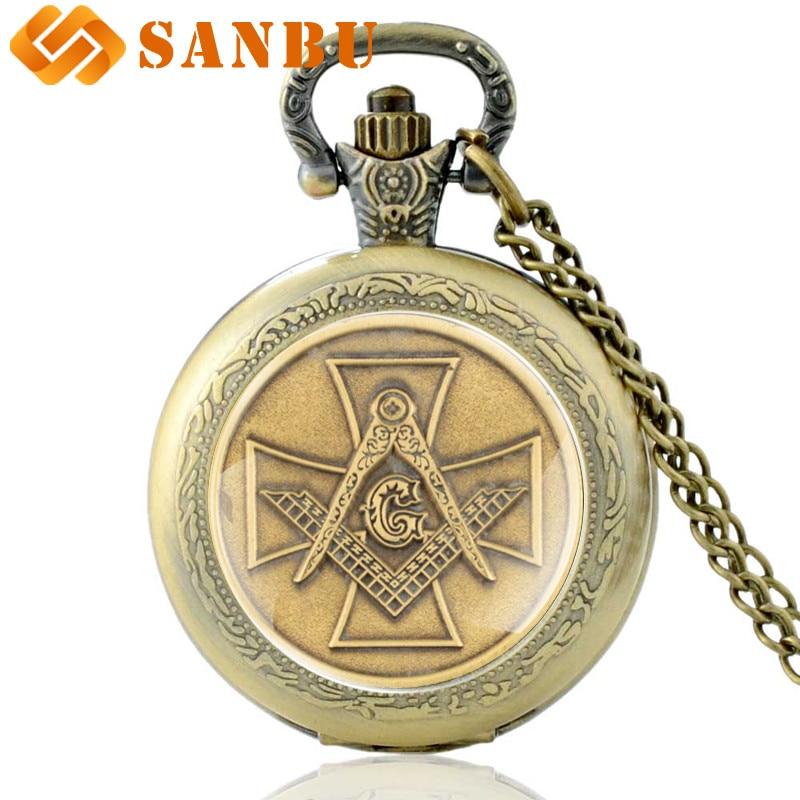 Vintage Bronze Masonic Quartz Pocket Watch Retro Men Women Cross Knight Templar Pendant Necklace Watches
