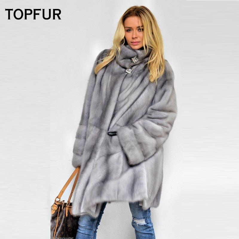 TOPFUR 2018 Новое поступление реального норки пальто Для женщин серый мех норки пальто Свободные Теплые High Street Популярные меховые куртки оформл