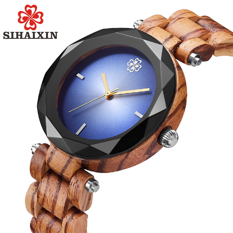 SIHAIXIN Gem Natural Bamboo Wood Women Wrist Watches 2018 Top Luxury Ladies Quartz Watch Brand As Creative Clock Christmas Gifts top brand nature wood bamboo watch men handmade full wooden creative women watches 2018 new fashion quartz clock christmas gifts