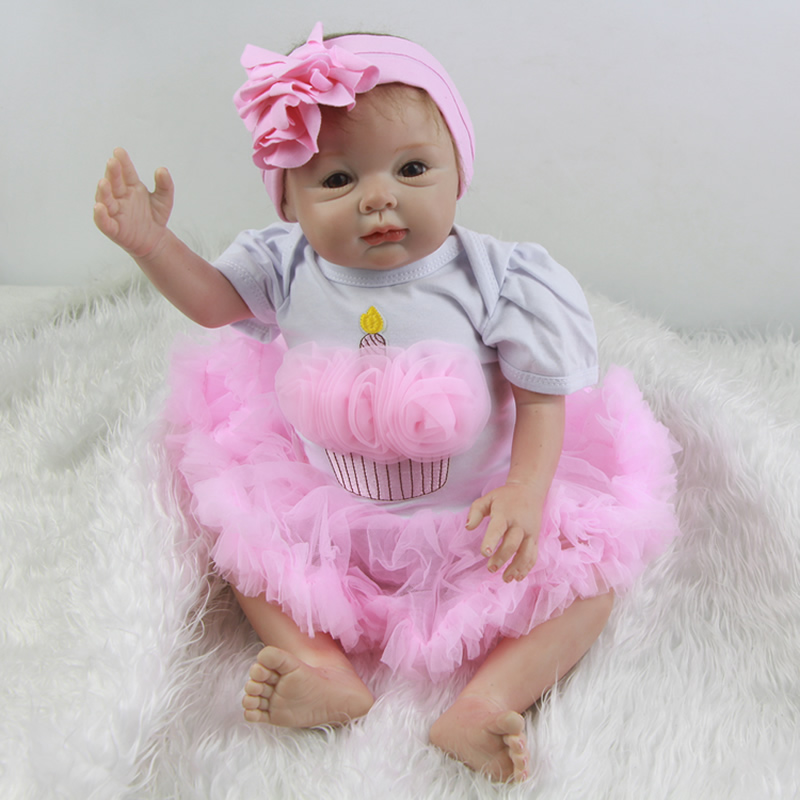 With Cradle Dress 22 Inch Reborn Baby Dolls Silicone Princess Girl Babies Doll Toy With Rooted Mohair Kids Birthday Xmas Gift велосипед rock machine surge 50 2013