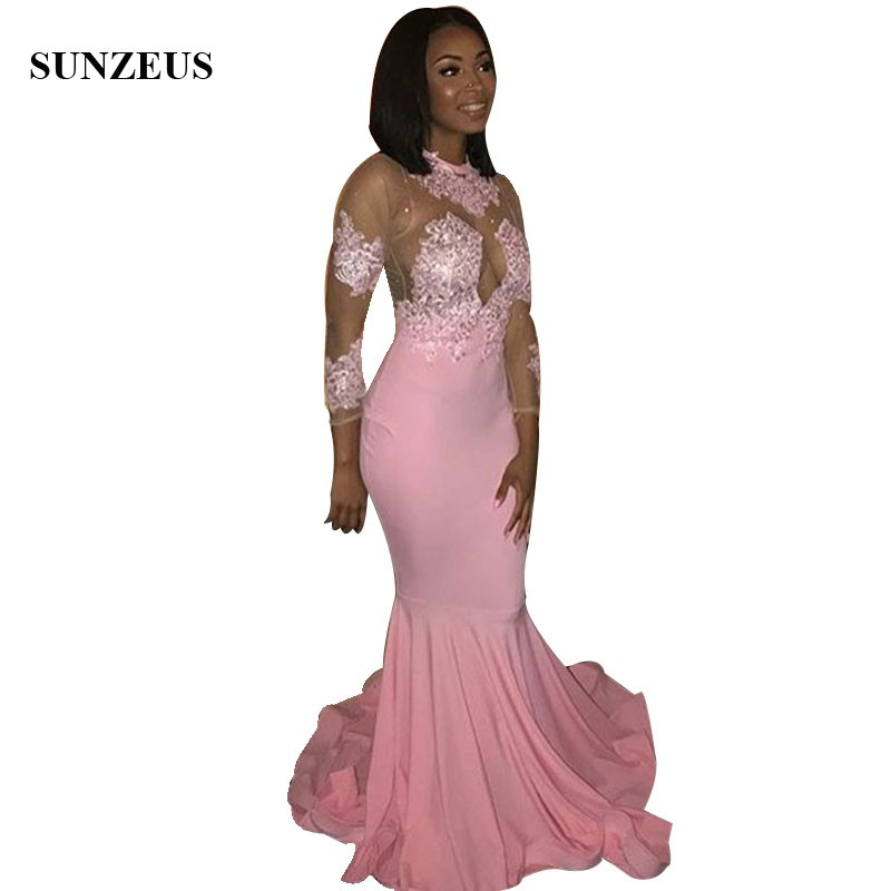 Mermaid Pink Jersey   Prom     Dresses   With Appliques Illusion Bodice Sexy Black Girls Party   Dress   Long Gowns 2019