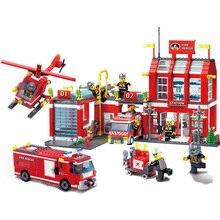 Enlighten 980pcs Building Blocks City Police Fire Station Regional Bureau Trucks Spray fire pistola kit Bricks Educational Toys цены