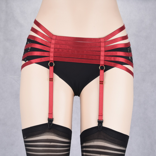 JLX.HARNESS Red Cage Panties,Red Harness Panties,Red Body Harness,Open Crotch Panties,Burlesque Costume,Exotic Dance Wear P0176
