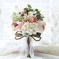 2016 Деревня Стиль Искусственные Свадебные Букеты Для Невест Вне Кружева Свадебные Цветы Брошь Букеты Букет Де Mariage