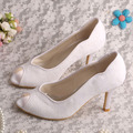 Wedopus Peep Toe Lace Wedding Shoes White Women New Design