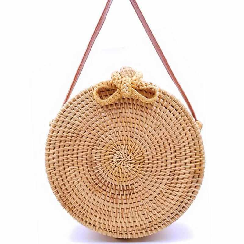 2ed530e60bb4 ... 2019 круглый соломенные сумки Для женщин летние плетеная Сумка из  ротанга ручной работы Тканые Пляжная сумка ...