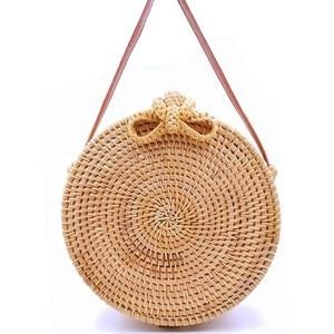 Image 2 - 2020 Round Straw Bags Women Summer Rattan Bag Handmade Woven Beach Cross Body Bag Circle Bohemia Handbag Bali Lowest price L31