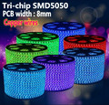 220V 100m (Tri-chip) RGB led strip 5050 SMD Flexible LED tape Waterproof  warm white blue 60LEDs/m , 8mm PCB width, copper wire