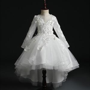 Image 4 - Fleur fille perle décoration longue robe 2020 nouvelle fille mariage fête échange robe balle beauté Sexy épaule robe