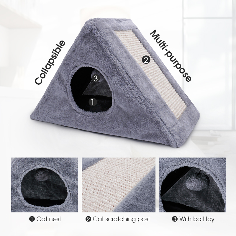 Collapsible Cat Bed Toy Multi-functional Funny Cat Scratcher Toy With Ball Toy Soft Cat Kitten Sleeping Bed House cama gato kittens