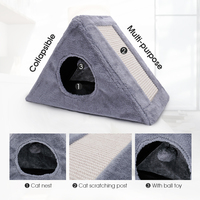 Collapsible Cat Bed Toy Multi functional Funny Cat Scratcher Toy With Ball Toy Soft Cat Kitten Sleeping Bed House cama gato