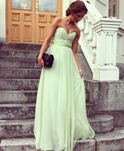 Mint Green 2017 Cheap Bridesmaid Dresses Under 50 A-line Sweetheart Floor Length Chiffon Long Wedding Party Dresses