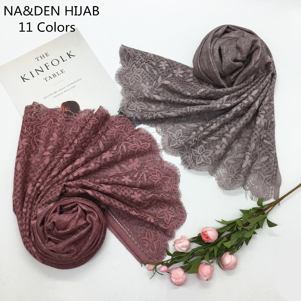 1PCS Hot Selling High Quality Lace Scarves Cross Print Beautiful Hijab Plain Soft Patchwork Cotton Women's Scarves Fancy Lace
