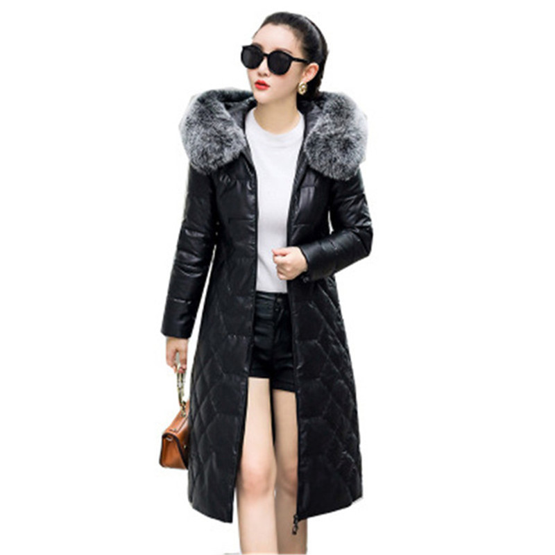 2019 New Winter Ladies Leather Jacket Real Fox Fur Collar Hooded Parkas Female Warm Clothing Women   Down     Coats   Plus Size 5XL X96