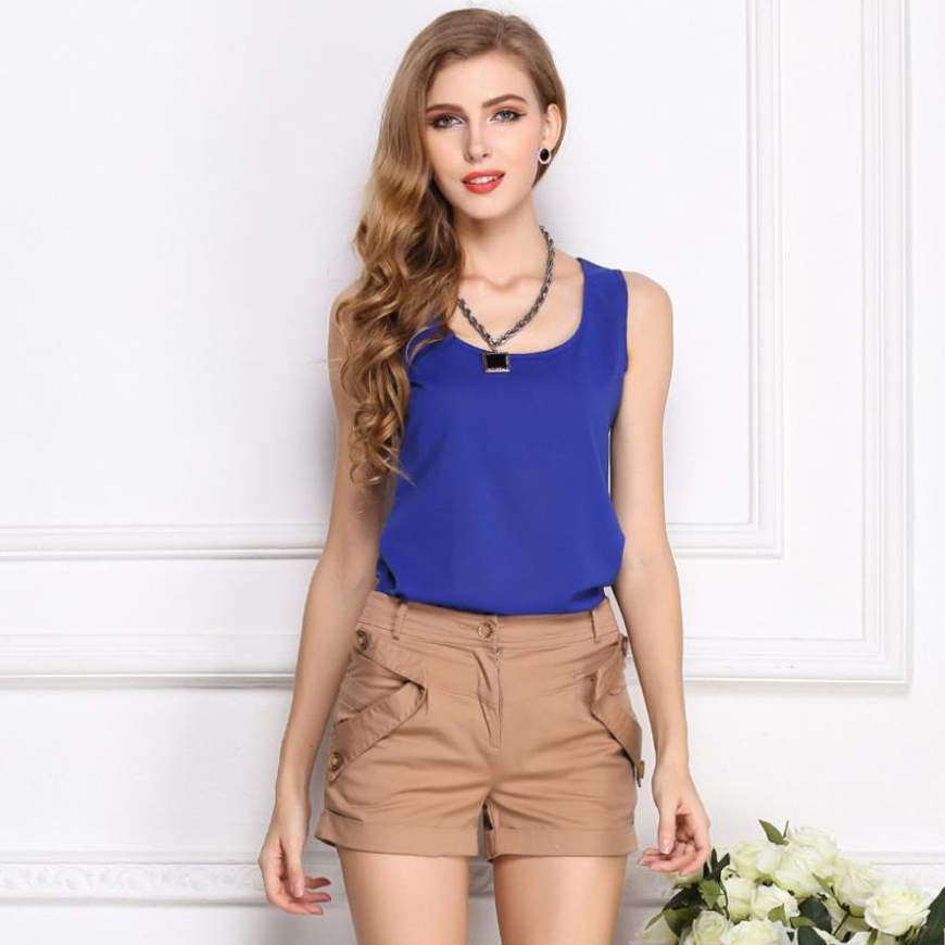 New Womens Tops 2020 Women Summer Chiffon Women  Blouse Plus Size Sleeveless Casual Shirt Black White Red Blue Ladies Blouses