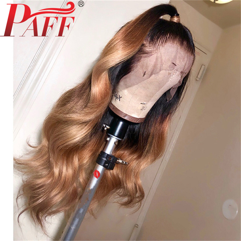 PAFF Glueless Full Lace Wigs Natural Wave Malaysia Hair Ombre Blonde 1BT27 Color Human With Baby