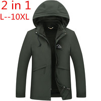 2 в 1 Fit Куртка Высококачественная брендовая одежда Водонепроницаемый ветровка куртка зимняя куртка Для мужчин мужской пальто дождь куртка