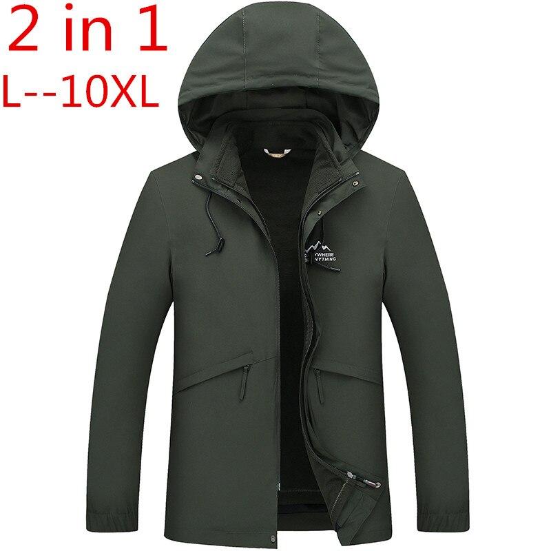 2 w 1 Fit kurtka wysokiej jakości marka wodoodporna kurtka wiatrówka płaszcz kurtka zimowa mężczyźni mężczyzna płaszcz deszcz kurtka Parka 10XL 8XL w Parki od Odzież męska na  Grupa 1