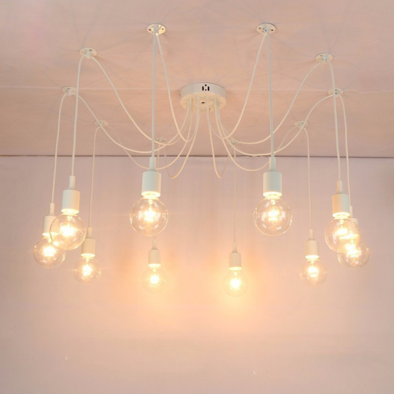 Modern pendant lights DIY White E27 Nordic Light Edison Bulb Lamp Loft Adjustable Spider Chandelier Ceiling luminaire Fixture hemp rope chandelier antique classic adjustable diy ceiling spider lamp light retro edison bulb pedant lamp for home