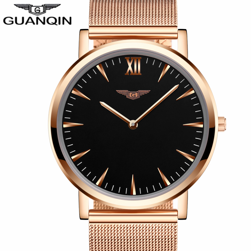 ФОТО New Fashion Mens Watches Top Brand Luxury GUANQIN Quartz Watch Men Mesh Band Stainless Steel Clock Male Ultra Thin Wristwatch